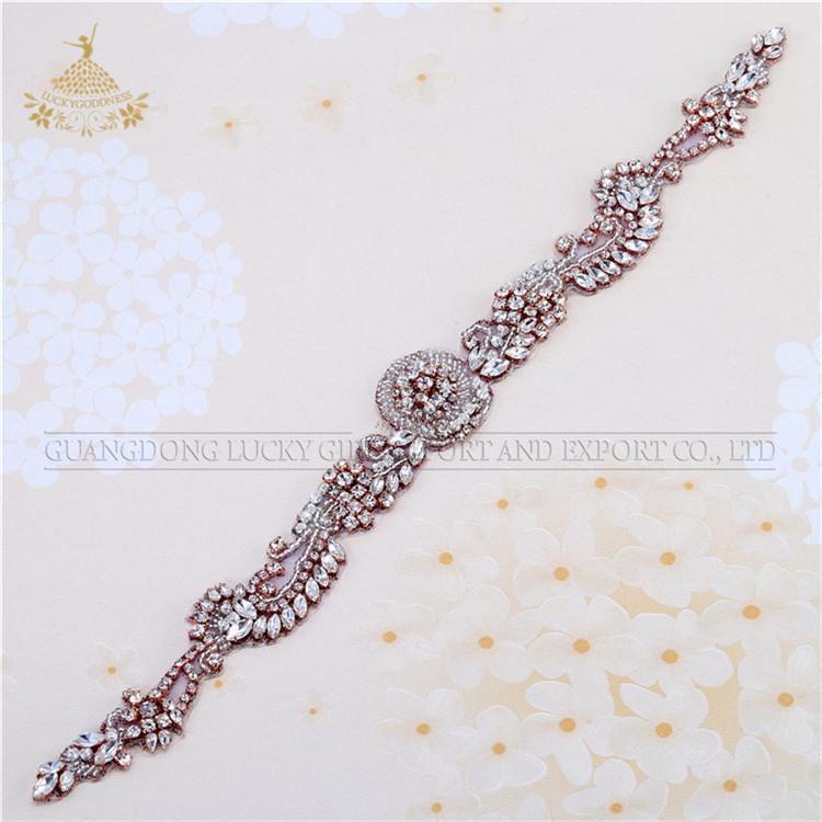 Handgemaakte naaien kralen voor Bruidsjurk voor Bridal Rhinestone crystal black riemen