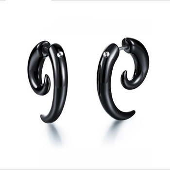 Whole Latest Model Acrylic Buffalo Horn Earrings Black Mens Tribal Piercing Jewelry For Men