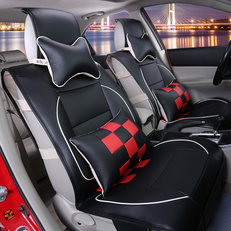 universal front and bench set soft leather car seat cover for 5 seats cars hatchback. Black Bedroom Furniture Sets. Home Design Ideas