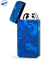 Novelty design dragon pattern double arc lighter electric usb rechargeable lighter for promotion gifts
