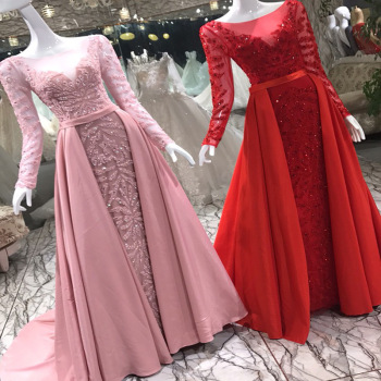 Red Sequins Baaded Evening Dresses Mermaid Floor Length With Long Sleeves See Through Evening Gown Detachable Skirt Navy Blue