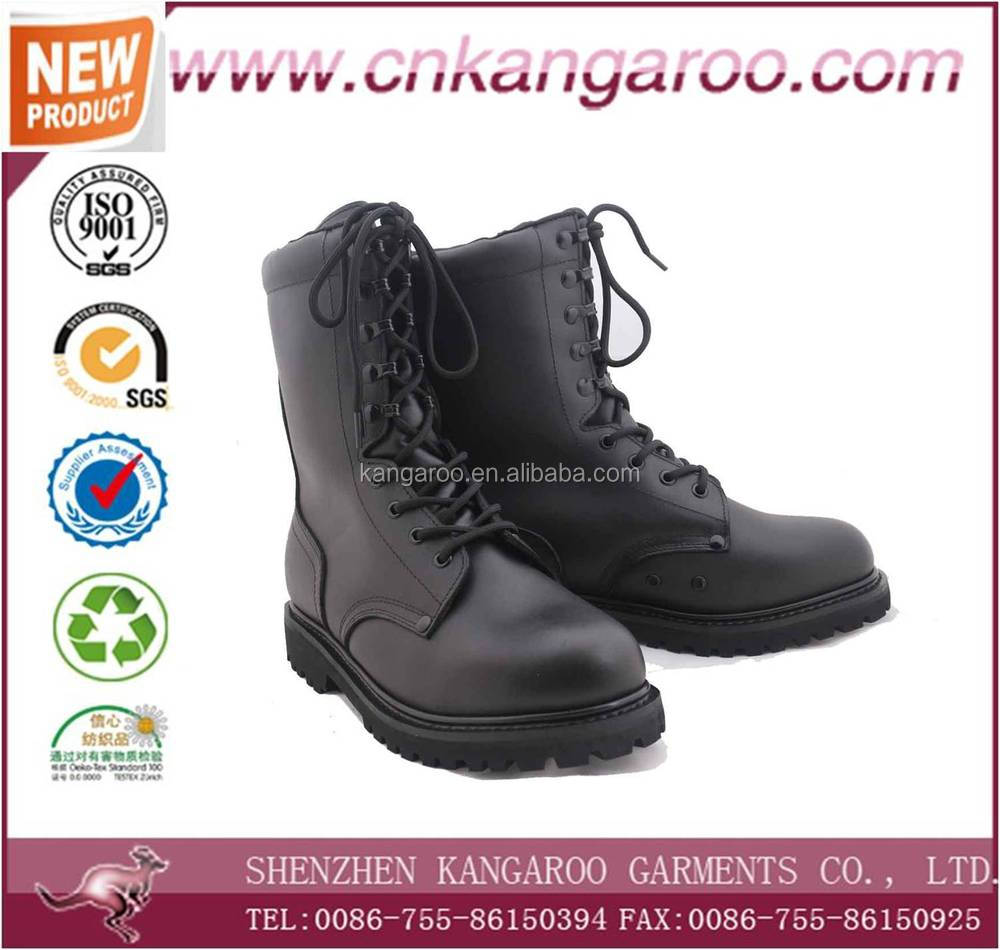 black genuine leather steel toe military rangers/military lleather boots sandblasting boots
