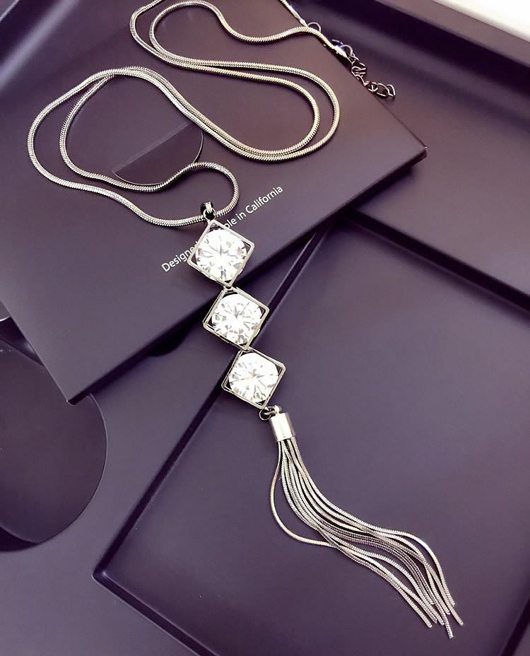 77fc2ed72fef Nupcial cristal triángulo borlas cadena larga declaración collar joyería de  las mujeres ...