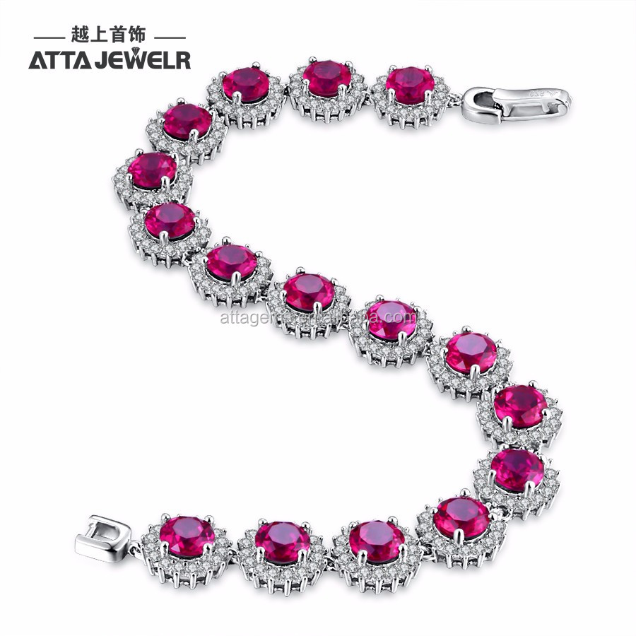 Hot sale trendy silver sterling 925 bracelet for ladies with created ruby gemstone