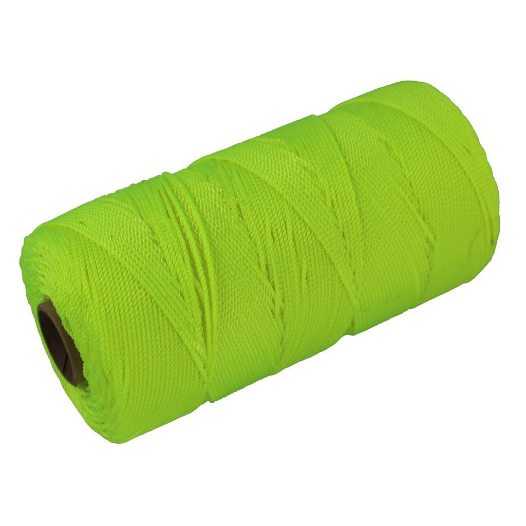 Twisted Nylon Mason Line #18 - SGT KNOTS - Moisture, Oil, Acid & Rot Resistant - Twine String for Masonry, Marine, DIY Projects, Crafting, Commercial, Gardening (275 feet - Florescent Yellow)