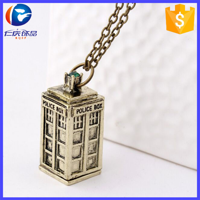 Wholesale Classic Doctor Who Phone Booth Tardis Pendant Necklace