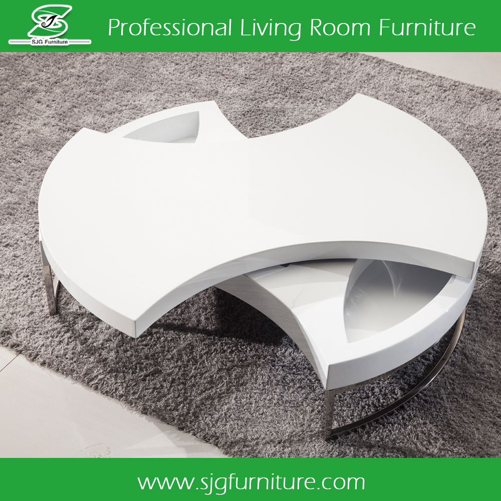 Mooie draaiende witte salontafel voor woonkamer ct 802 houten ...