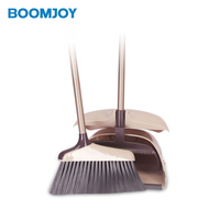 Cleaning long handle broom and dustpan set with plastic broom and dustpan set