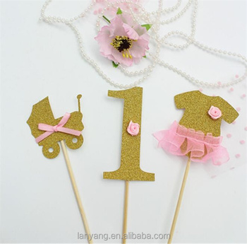 Baby Girl First 1st Birthday Cupcake Cake Toppers Pre Cut Gold