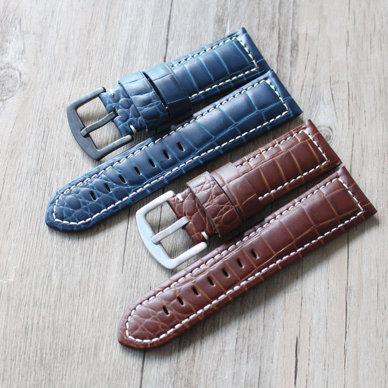 Stone grain cowskin watch band 24mm retro men style leather watch straps