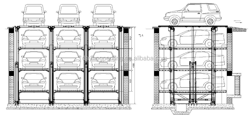 here is a diagram of hydraulic underground car parking lift simple pit lift  parking system which is a popular kind of smart mechanical car parking  system