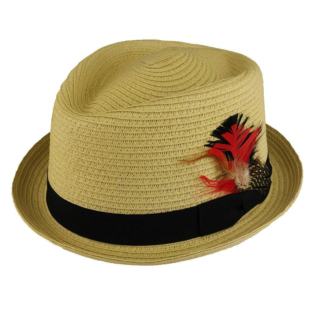 eb228478a351f Get Quotations · Trendy Apparel Shop Men s Pork Pie Straw Fedora Hat With  Feather Grosgrain Hat Band