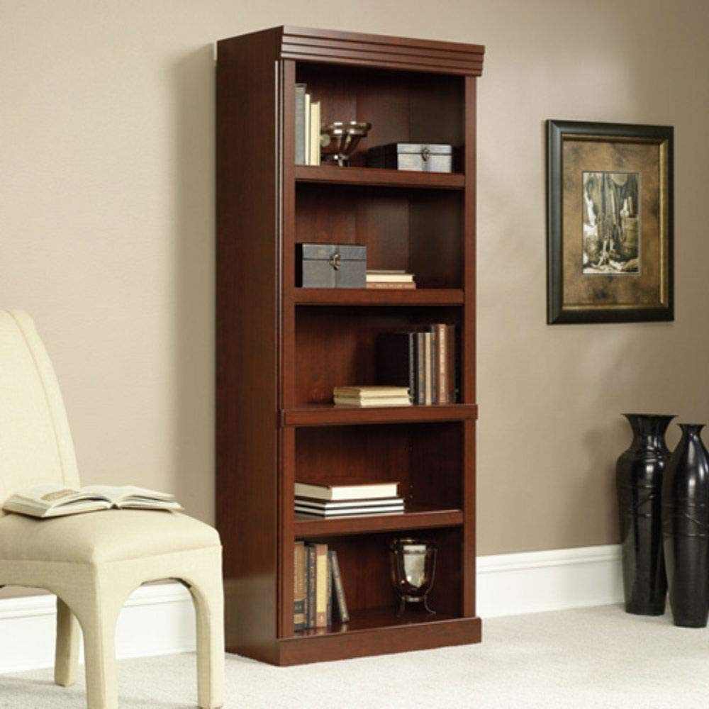 Trustpurchase 71-inch High 5-Shelf Wooden Bookcase in Cherry Finish, Has Been Designed for Those Seeking A Classic English Look to Complement Any Home or Office Decor, Beautiful Cherry Laminate Finish