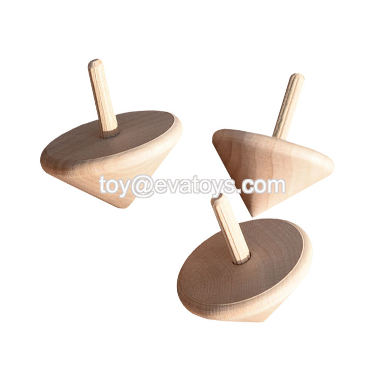 New hottest educational kids wooden spinning top toy in natural wood W01B078