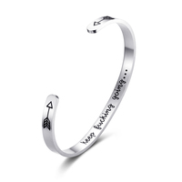 Inspirational Bracelet Stainless steel Cuff Keep Going Personalized rope bracelet engrave bracelet 2019 Bangle