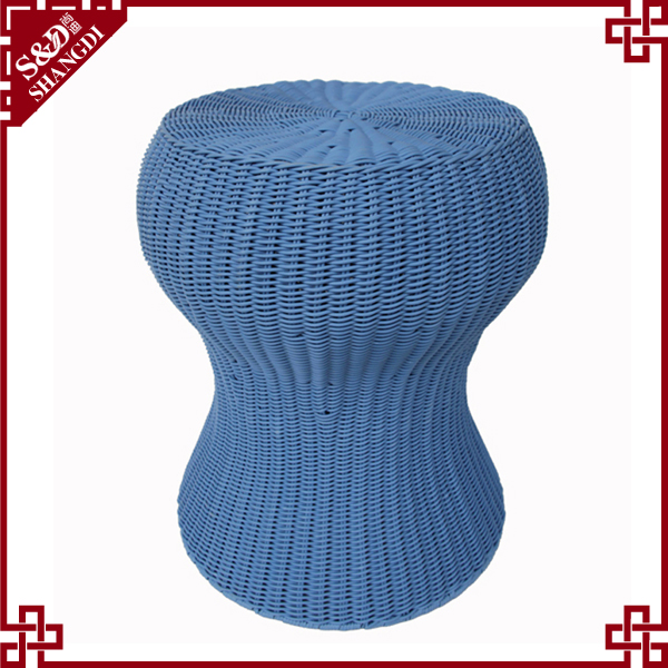 Environmentally friendly rattan furniture indian foot stool with metal frame