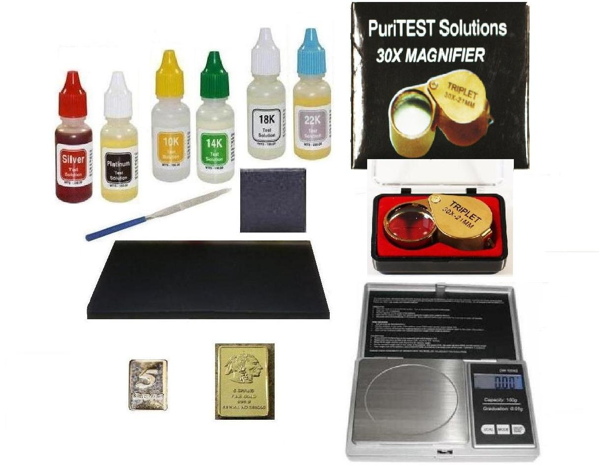fa25502547e723 Get Quotations · Pro ClockSmith/Jeweler Tools-Complete Purity Test Kit with  Jewelry Scale, Loupe,