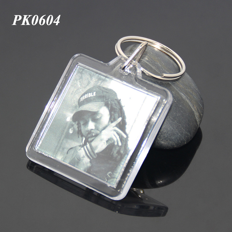 Custom DIY Acrylic Souvenir Picture Square Shaped Clear Keyring Insert ABS Plastic Keychain Photo Holder