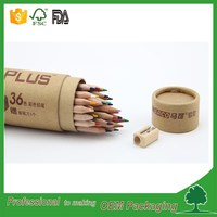 kaft cardboard cylinder shape tube 36pcs pencil packaging into paper tube pen case pencil packaging round box supplier