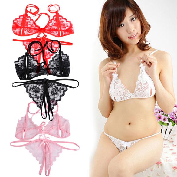 1759ce5d6fe Hot sale sexy Chic Women Lace Open Bra Crotchless Thong G-string T-back  Lingerie Set E1IT