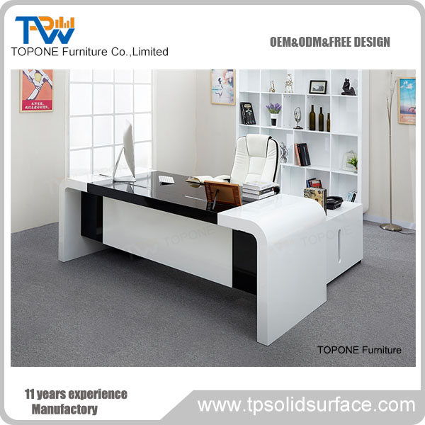 white and black color solid surface modern office desk furniture executive