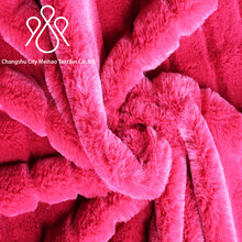 Latest version coral fleece fabric for pajamas,sofa, baby toy /100% Polyester solid red rib flannel Fabric blanket