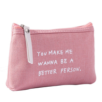 Best selling lovely makeup pouch personalized pink private label makeup bag canvas with logo printing