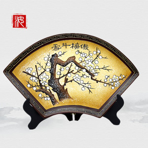 Painted pottery arts and crafts for home collections living room accessories fan plate decoration office exquisite gifts