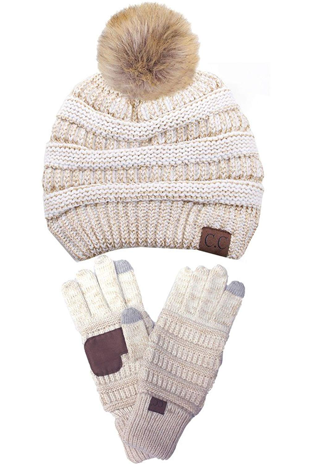 8570d2844e08b0 Get Quotations · ScarvesMe C.C Trendy Warm Soft Stretch Cable Knit Pom Pom  Beanie and Gloves SET