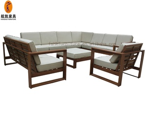 Hangkai Aluminum furniture With wood finish outdoor garden sofa set
