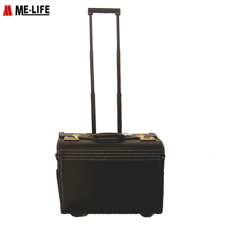 Top sale leather luggage case pilot trolley bag wholesale carry-on luggage