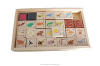 kids wood toy stamps set for gift