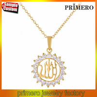 Islam Allah Sun 18K Gold Plated Rhinestone Religious Muslim Jewelry Necklaces Pendants