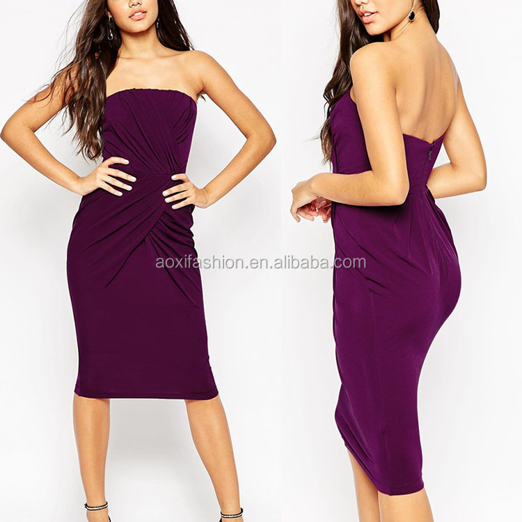 Women Wear Open Hot Sexi Images Pleated Front Big Ass Off The Shoulder Backless Purple Latest Fashion Dresses For Girls