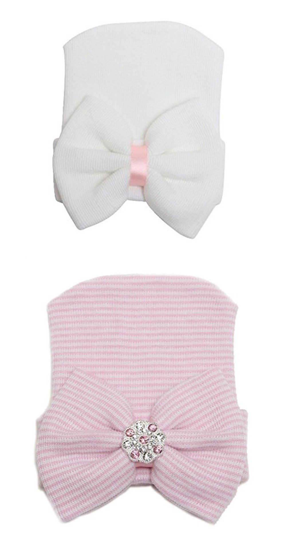 Babycola's Mum Sparkle Gem Newborn Baby Girl Nursery Beanie Hospital Hat With big Bowknot(pink)+Newborn Cute Hat Bowknot Girl Hat(white)