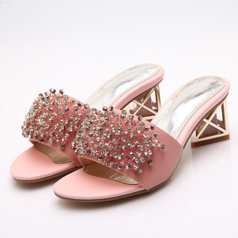2015 Women Rhinestone Sandals Heels Open Teo Genuine Leather Metal Heels Sandales Summer Hot Women Shoes High Heels Slippers Hot