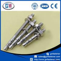 A2 A4 304 316 Stainless Steel Wedge Anchor , Anchor Bolt , Throught Bolt