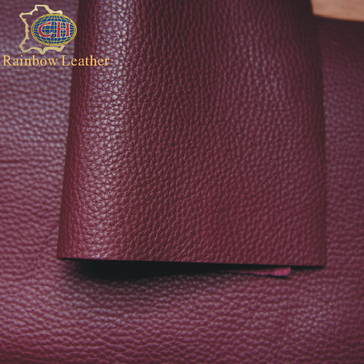 China wholesale top grain black embossed litchi cow leather for handbags