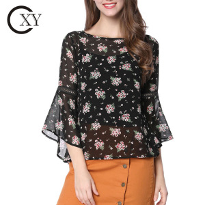 Custom Ladies Three Quarter Bell Sleeve Floral Print Chiffon Blouse With Spaghetti Strap Cami