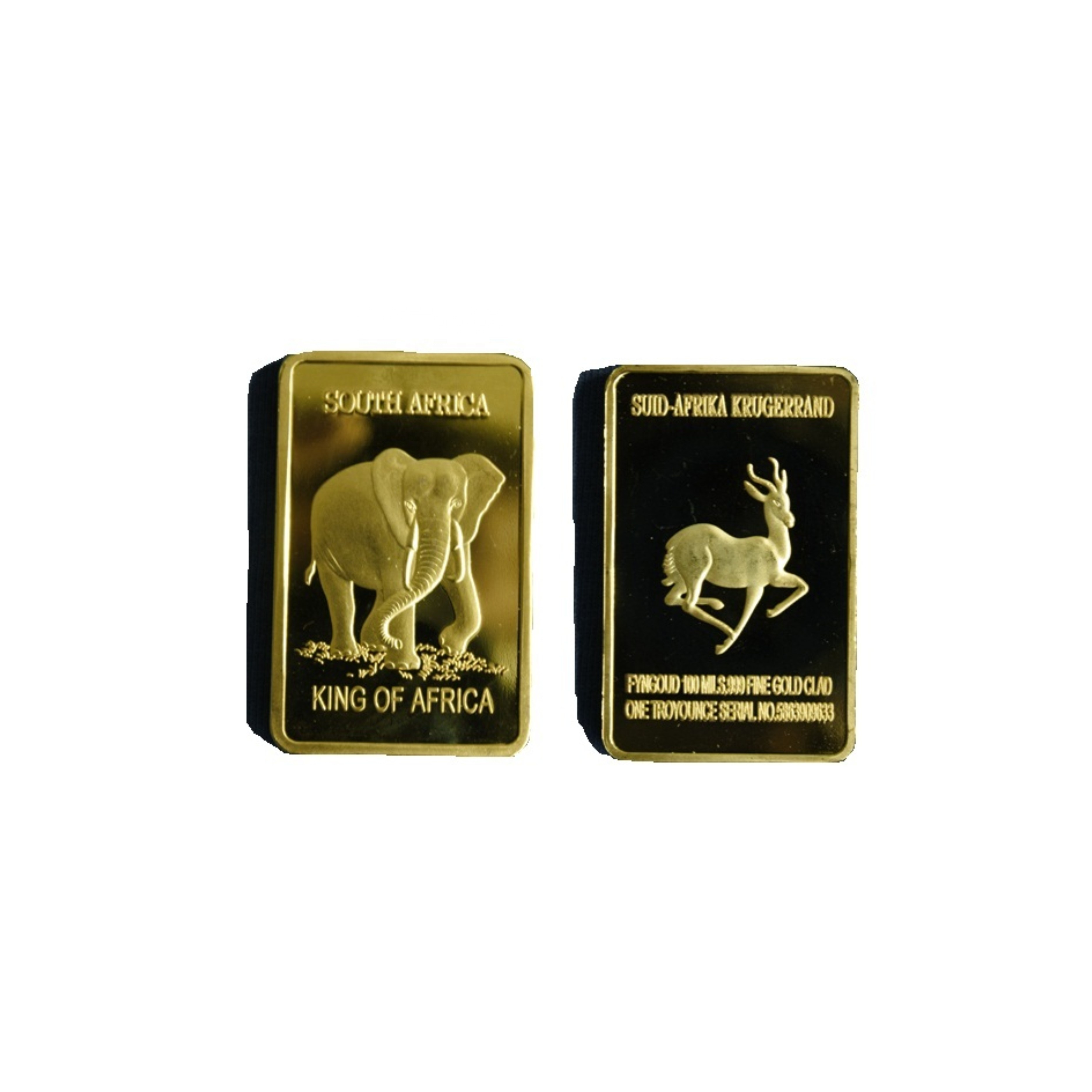 1 oz 24 k Oro Rivestito Elefante Bullion Bar