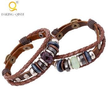 Simple Leather Bracelet Men Making With Gemstone Beads Wrap Leathe Product On