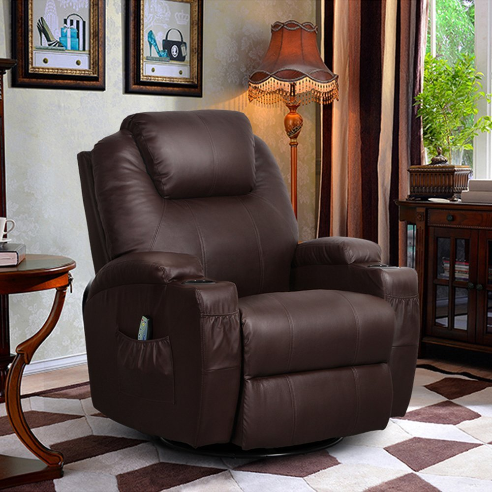U-MAX Massage Recliner Chair Leather Ergonomic Heated Lounge Sofa Swivel with Control and Cup Holder for Living Room (Brown)