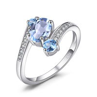 1.1ct Natural Blue Topaz 3 Stone Anniversary Ring 925 Sterling Silver From JewelryPalace