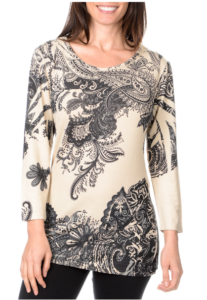 Nancy Yang Women's Paisley Print Crochet-back Knit Top