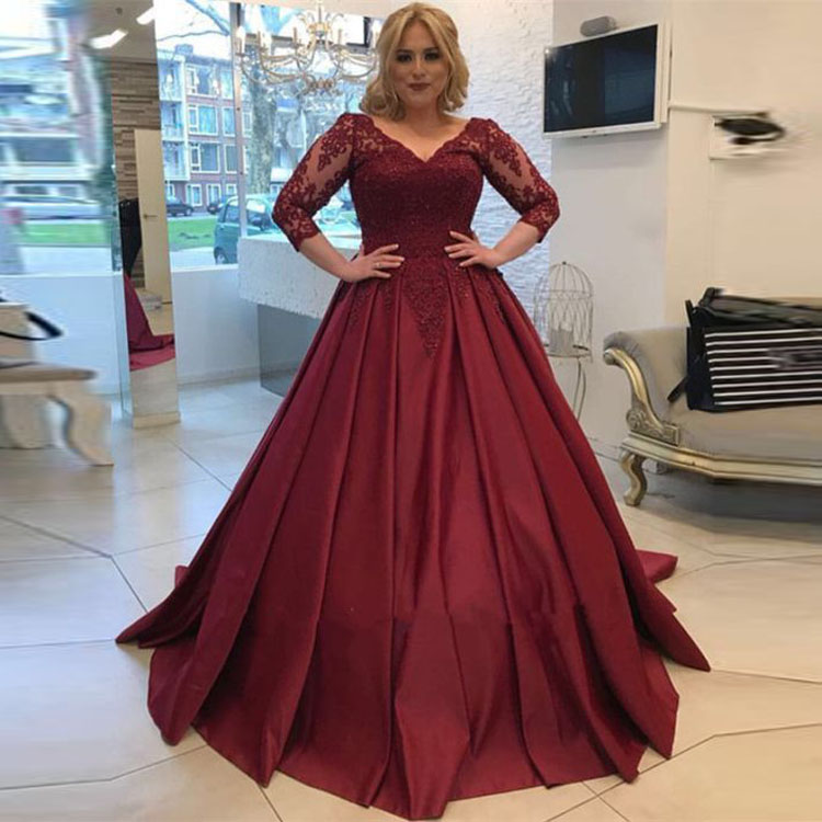473b0dce2b Burgundy Long Prom Gowns V Neckline Applique Satin Plus Size Evening Dresses  2018 with Sleeve
