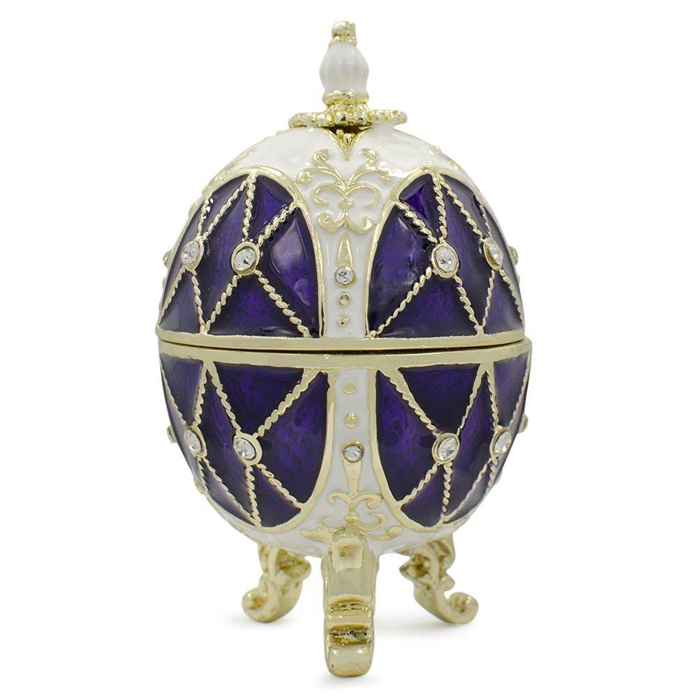 "2.75"" Purple 7 White Faberge Inspired Easter Egg"