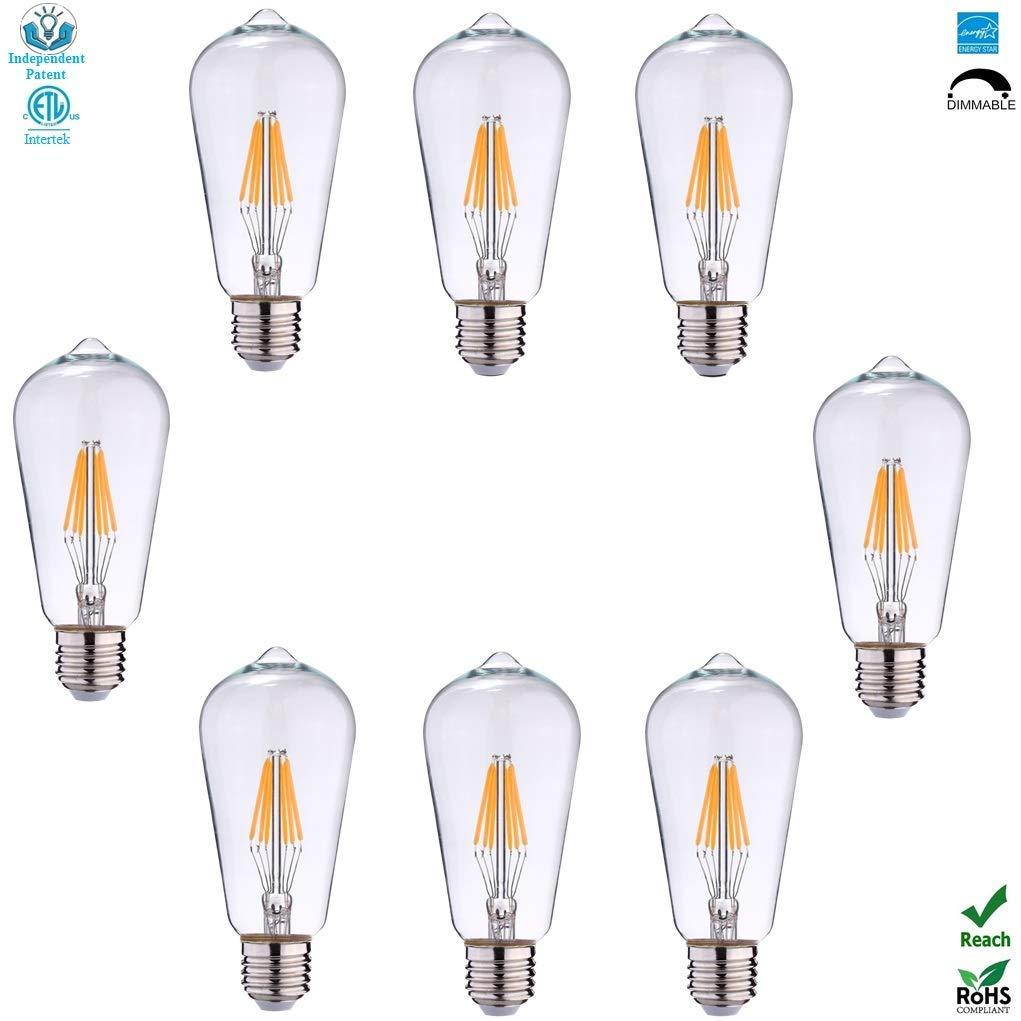 ST19 Dimmable ETL LED Edison Light Bulb Filament Vintage Classic Light Bulb E26 Base 6.5Watt(60W Equivalent) for Lamp Home Restaurant: 3000K,Warm White,810Lumen,CRI>80cri,Screw Clear Glass(8-Pack)