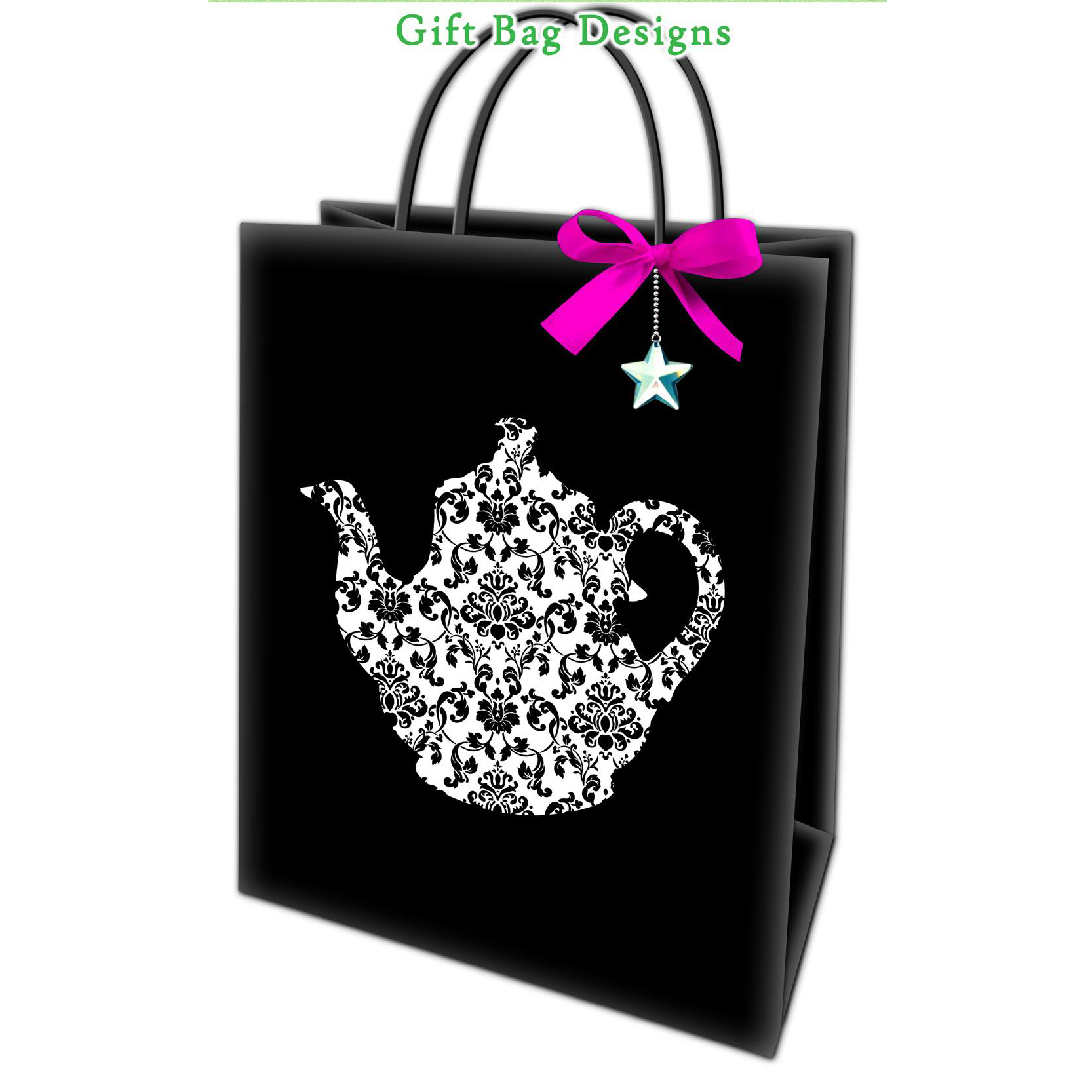 New Design Strong High Quality Blue Bowknot Customized Printed Square Cute Paper Bags