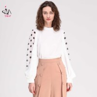 Office Lady Puff Long Sleeve Dot Elegant With Blouse For Women Fashion 2019