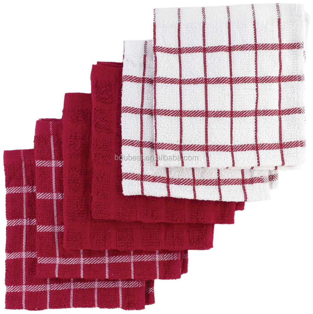 6-Pack Terry Organic Cotton Dish towels,Set of 6 terry looped dish cloths in a coordinating solid and check